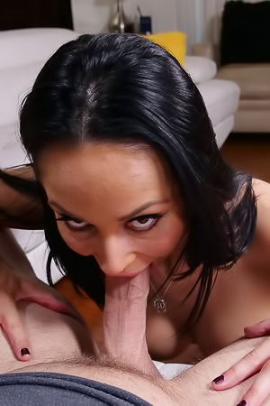 Brunette Crystal Rush Playing With Dick In Mouth