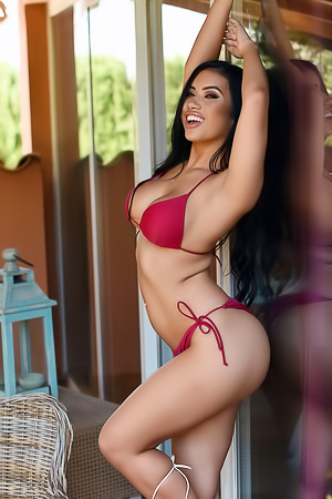 Nicole Snow In Red Bikini And Without