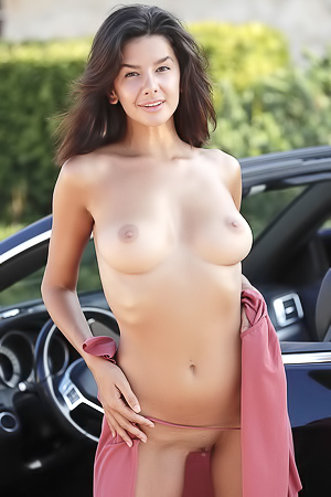 Natural Busty Teen Adele Stripping In Sport Car